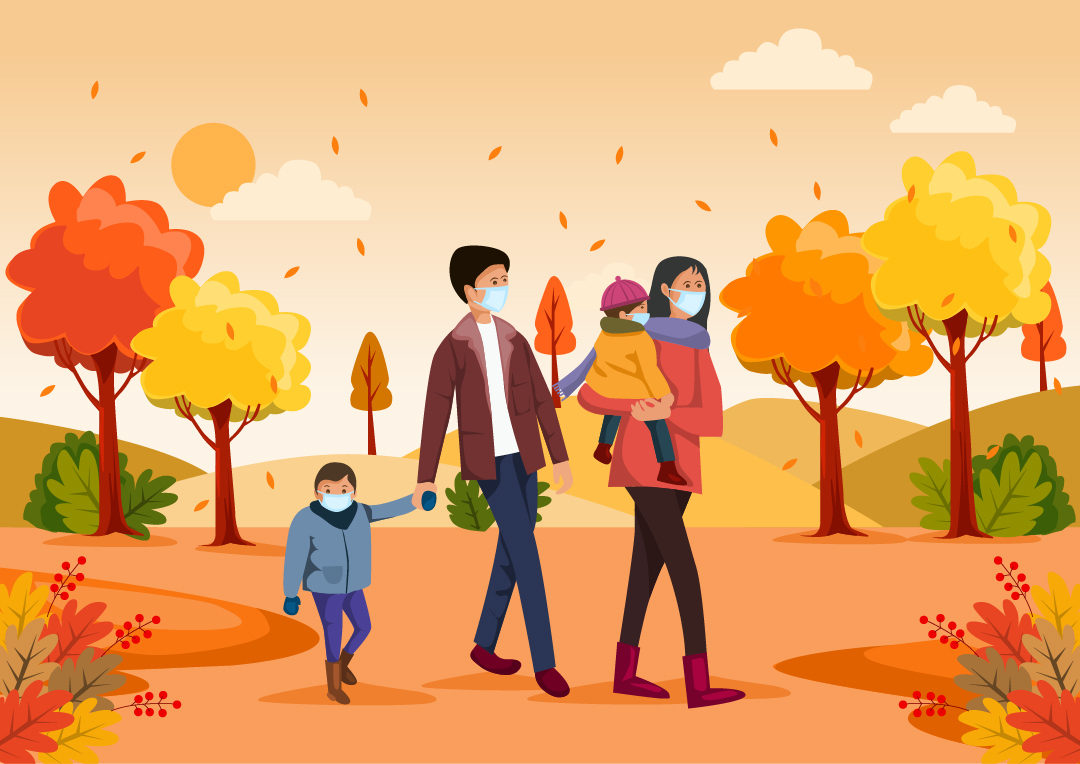 Illustration: Family walking in Fall