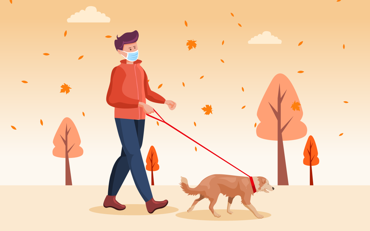 Illustration: Person walking dog in Fall
