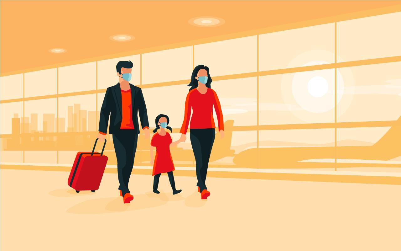 Illustration: Family walking in airport terminal
