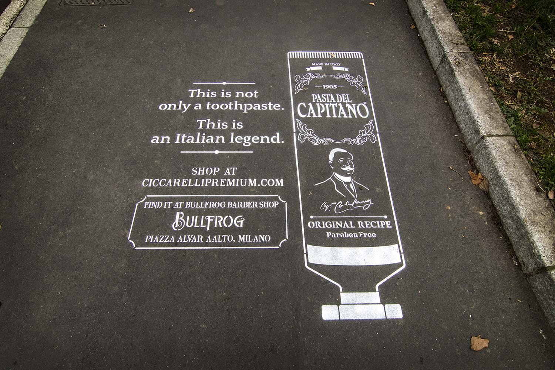 graffiti pubblicità pasta del capitano