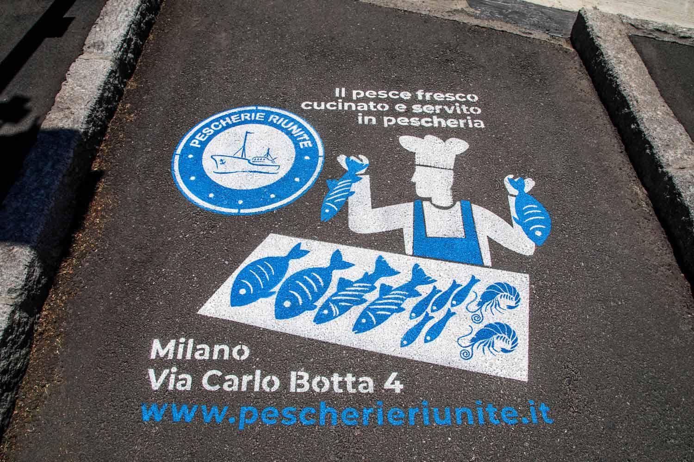 graffiti pubblicitari pescherie riunite