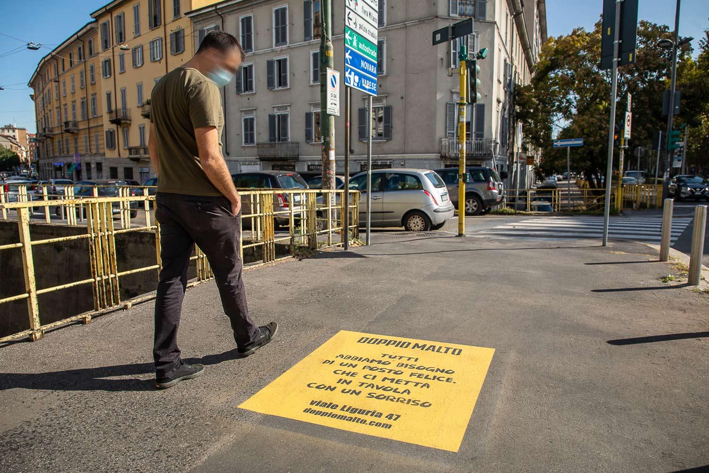 pubblicità marciapiedi doppio malto