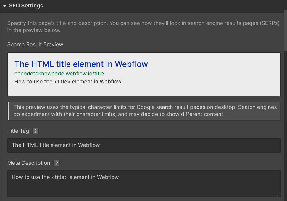 title setting in webflow