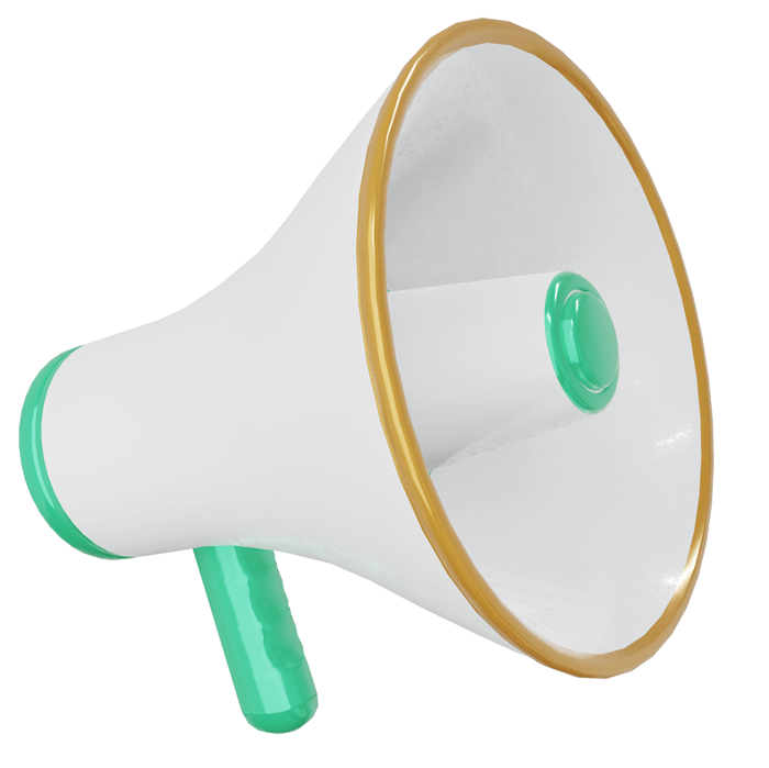 Image of a megaphone, visualizing that you can enable Hyro to shout your story to the world