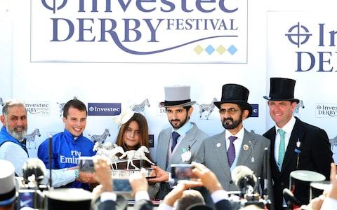Jockey William Buick, Princess of Dubai Sheikha Al Jalila bint Mohammed Al Maktoum, Crown Prince of Dubai Sheikh Hamdan, Godolphin owner Sheikh Mohammed, Charlie Appleby