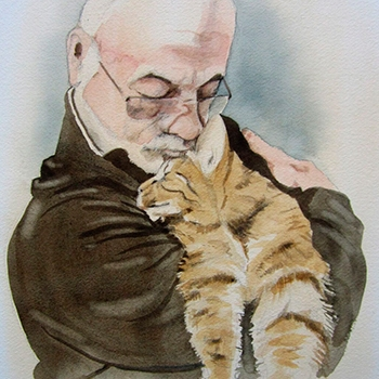 Watercolour Owner and Cat