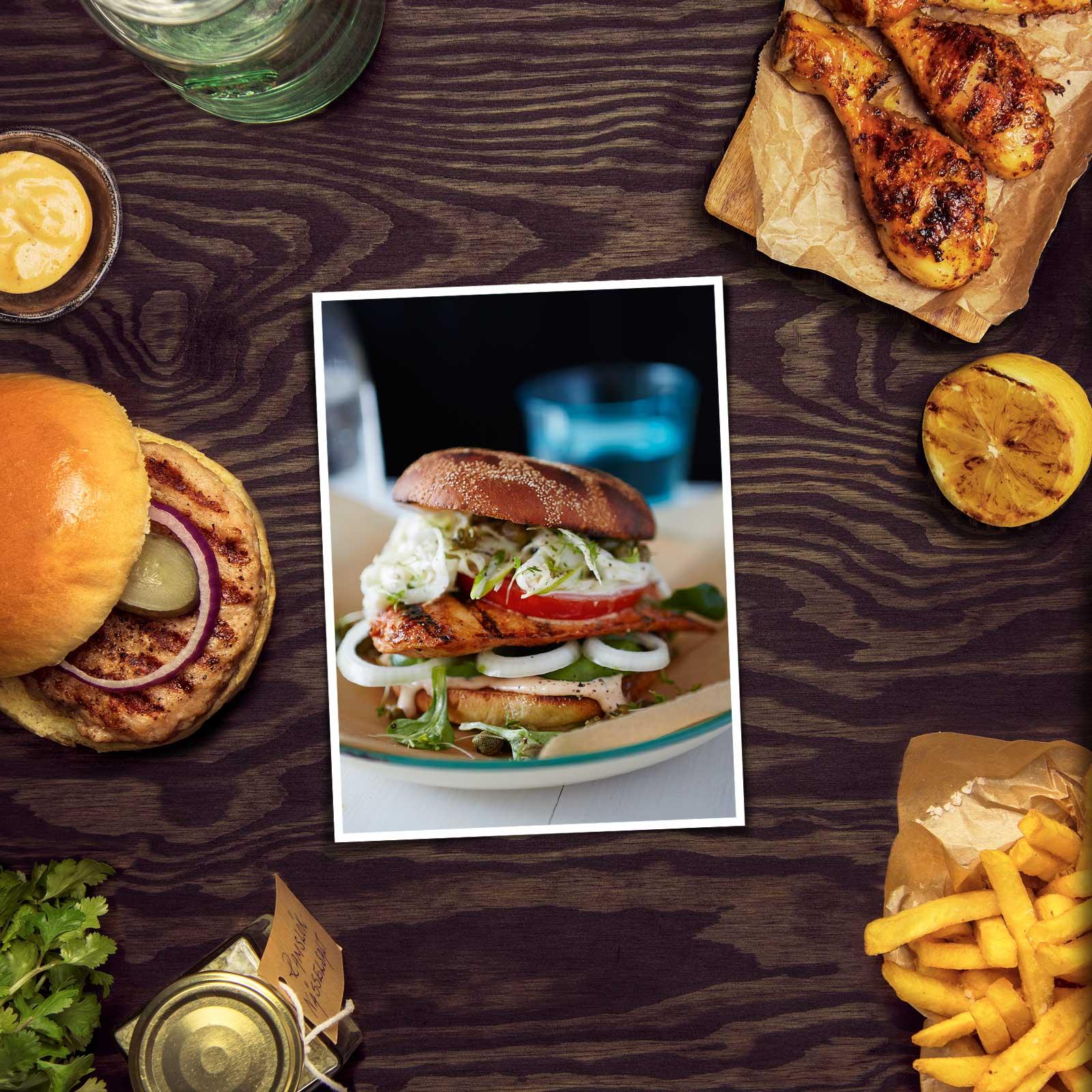 Chicken Burger Med Fänkålsslaw & Chilimayo