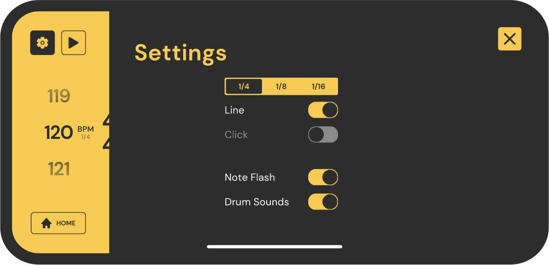 a screenshot from the app showing the settings page
