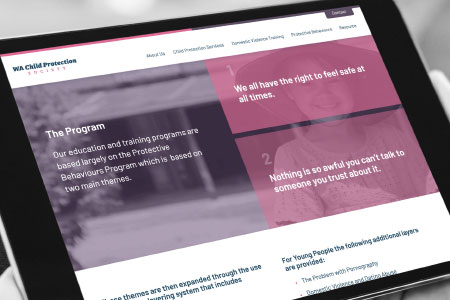 Thumbnail of Website Design Project for WA Child Protection Society