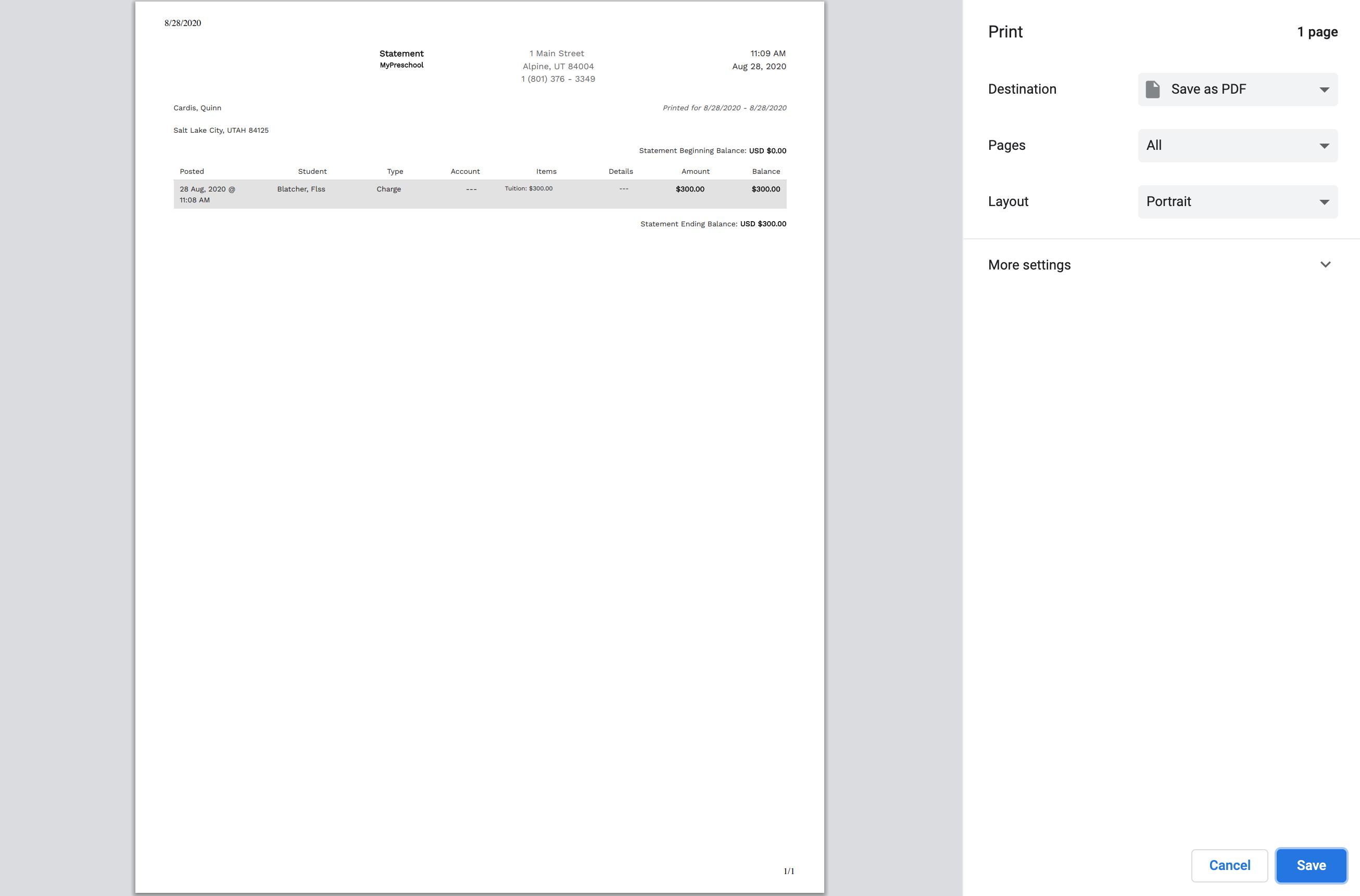 Save a statement as a PDF in Enrollsy