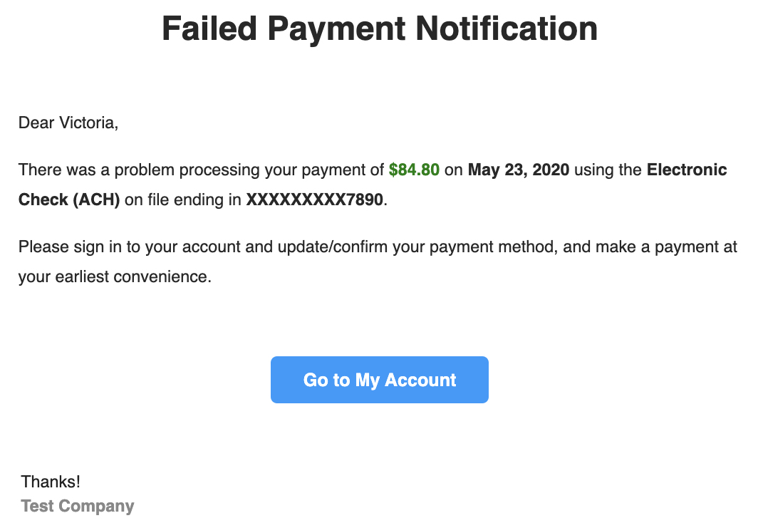 Failed Payment Notification