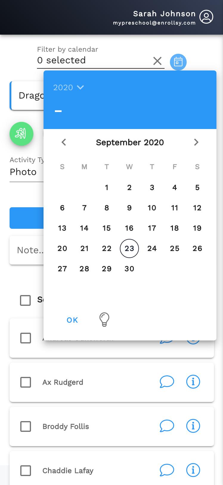Day filter Enrollsy teacher app