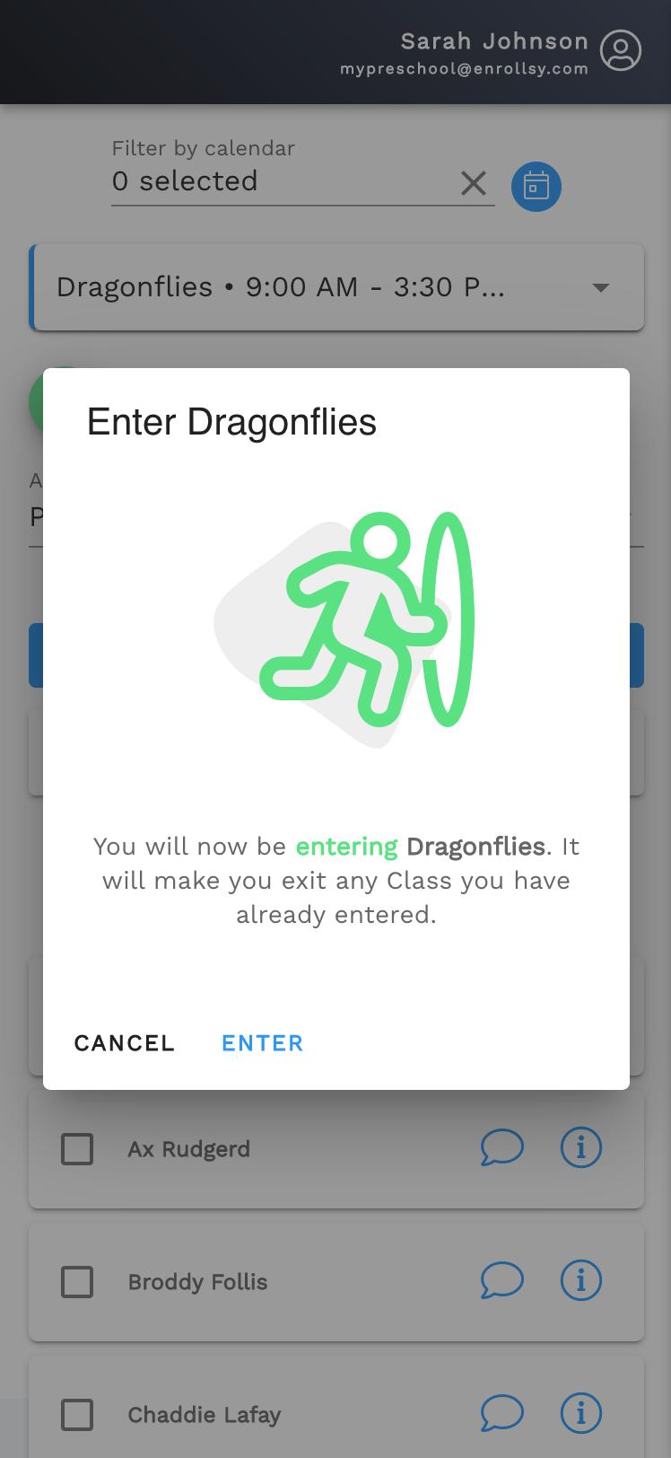 Entering a classroom in the Teacher App