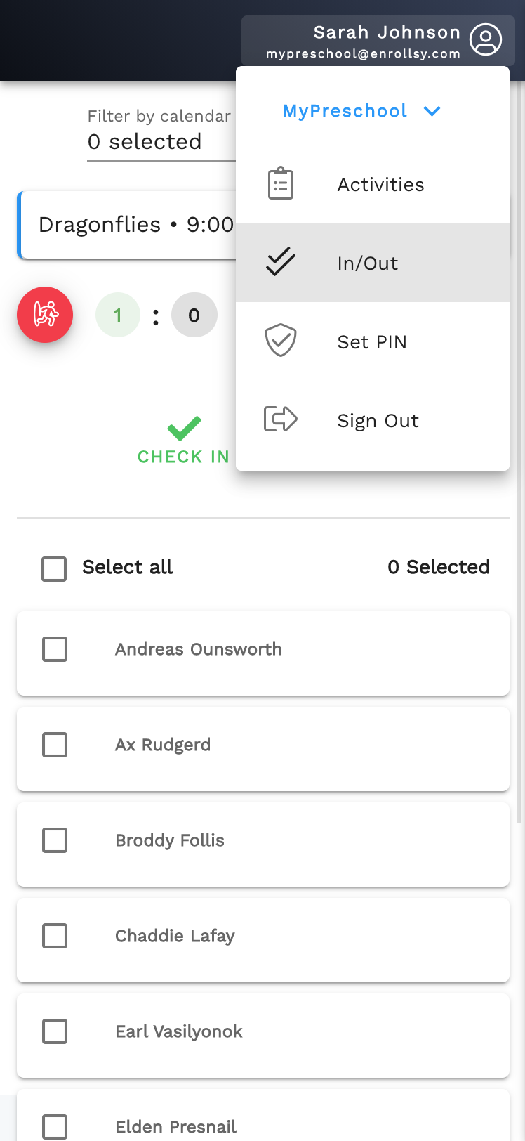 Check-in/out page in Enrollsy's Teacher App
