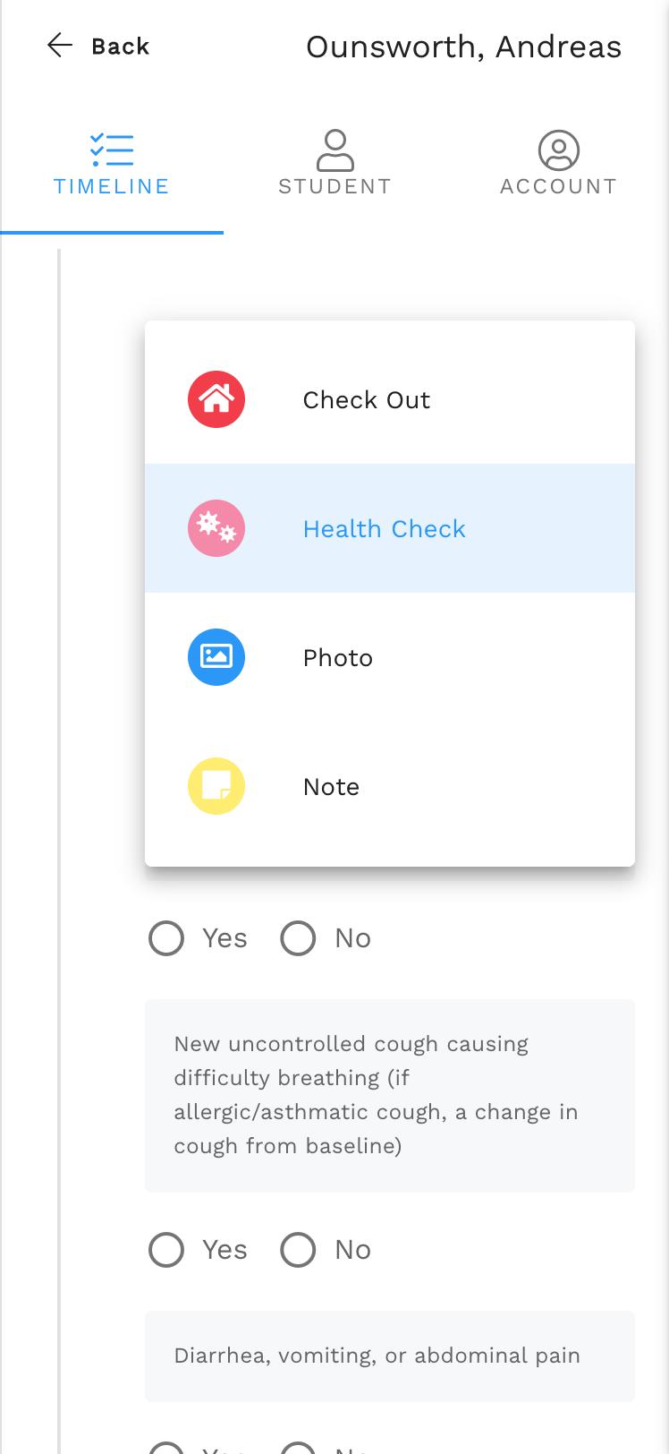 Health checks in Enrollsy's Teacher App