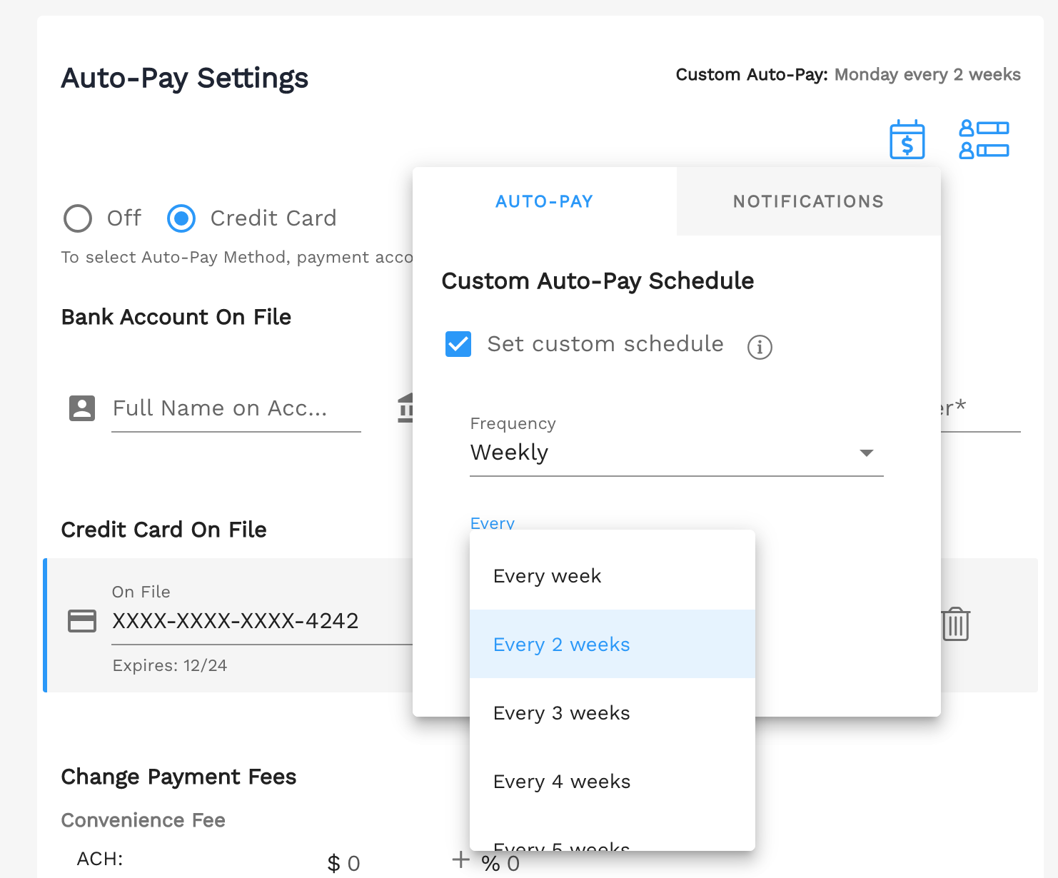 Set a custom auto-pay schedule in Enrollsy