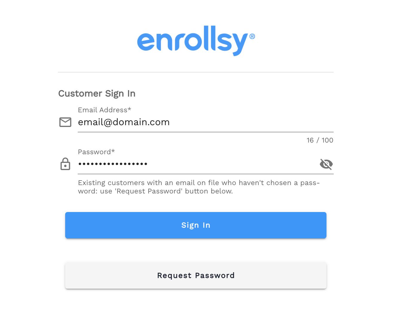 Enrollsy customer portal login