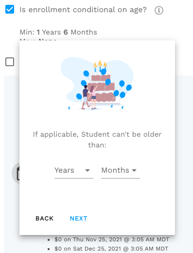 Oldest age allowed