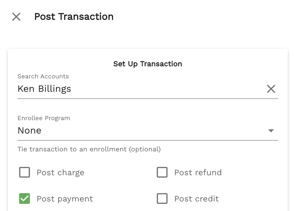 Step 3 of posting a transaction on Enrollsy