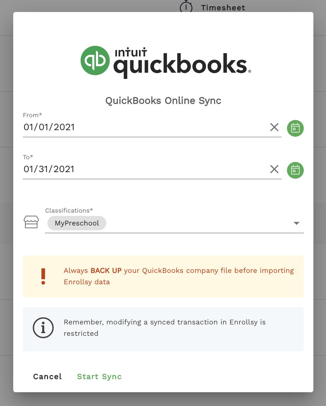 Enrollsy's Quickbooks Online integration
