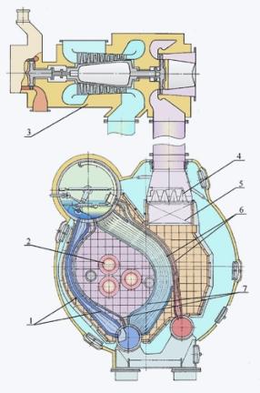 Схема парового котла с турбонаддувочным агрегатом