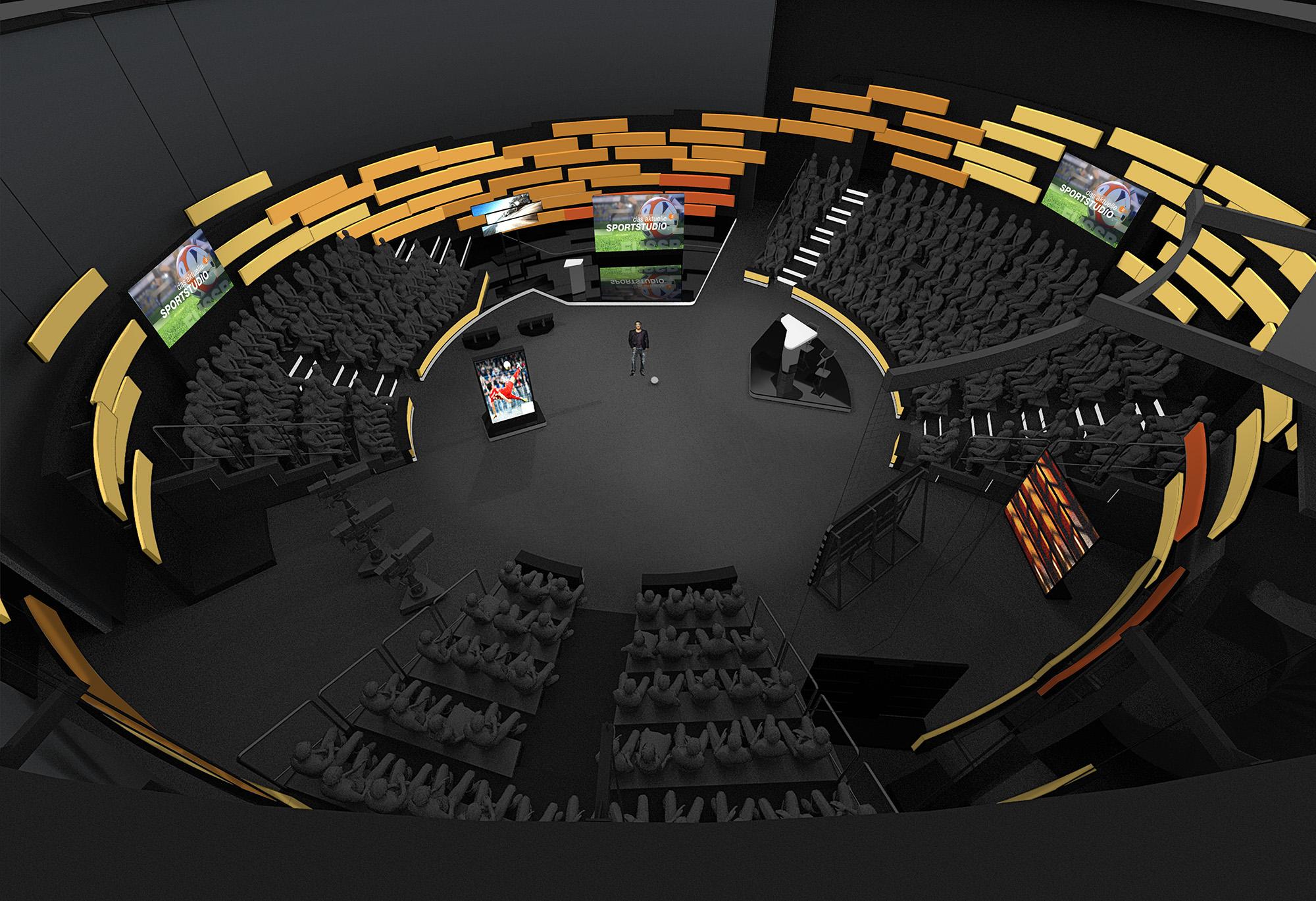 Gestalterisches Kernelement des Studio-Set Re-Designs ist ein Schwarm aus eigens entwickelten LED-Modulen.