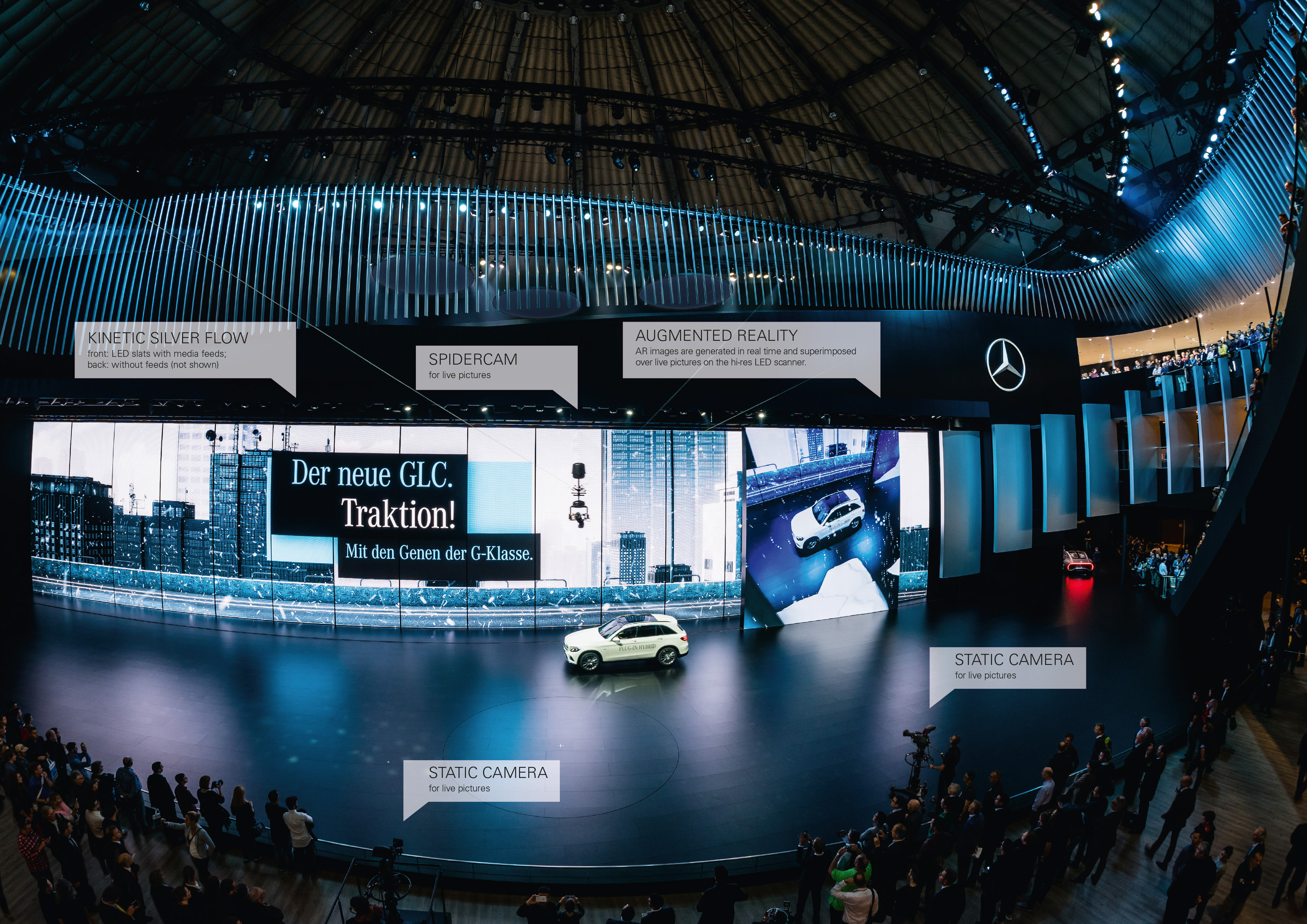"The AR show ""Mercedes Live!"" at the IAA 2015 via Spidercam"