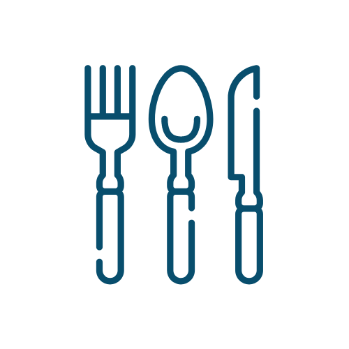 Icon of cutlery which represents a restaurantour.