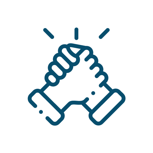 Icon of a handshake which represents partnership.