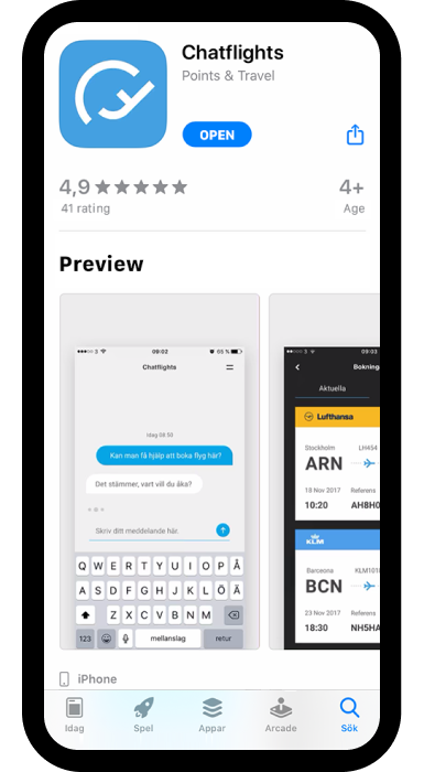 Iphone with app store Chatflights screen