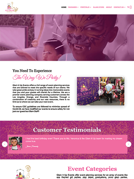 Glam It Up Events website Powered by I2I