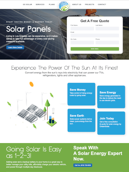 dream solar panels website design by Idle 2 Idol