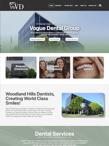 Vogue Dental website Powered by I2I