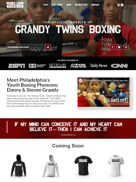 grandy twins boxing website design by Idle 2 Idol
