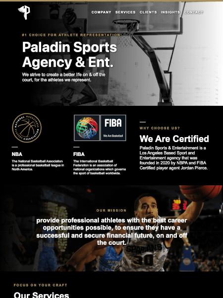 Paladin Sports Agency Website Designed by Idle 2 Idol