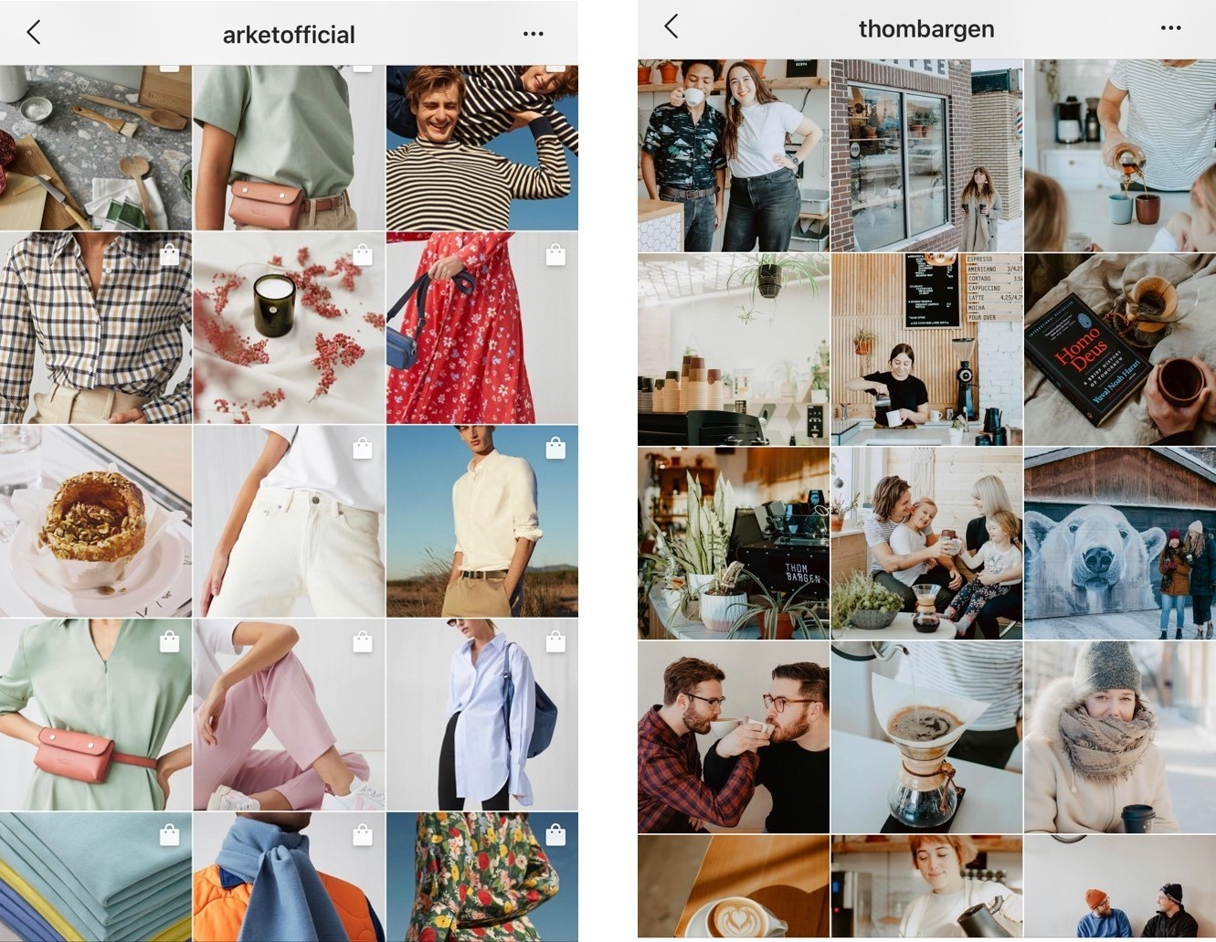 Instagram Feed Theme Example - Thom Bargen and Arket