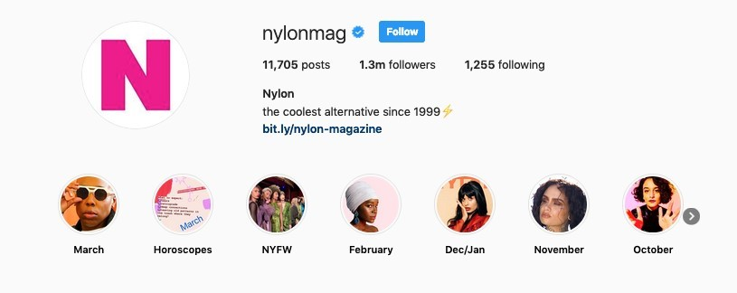 Nylon Mag Instagram Stories Highlights Example