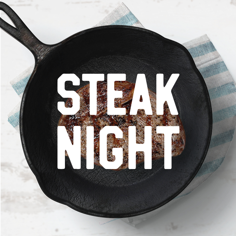 Every Wednesday is Steak Night! Sirloin steak cooked to your liking, served with chips and salad.