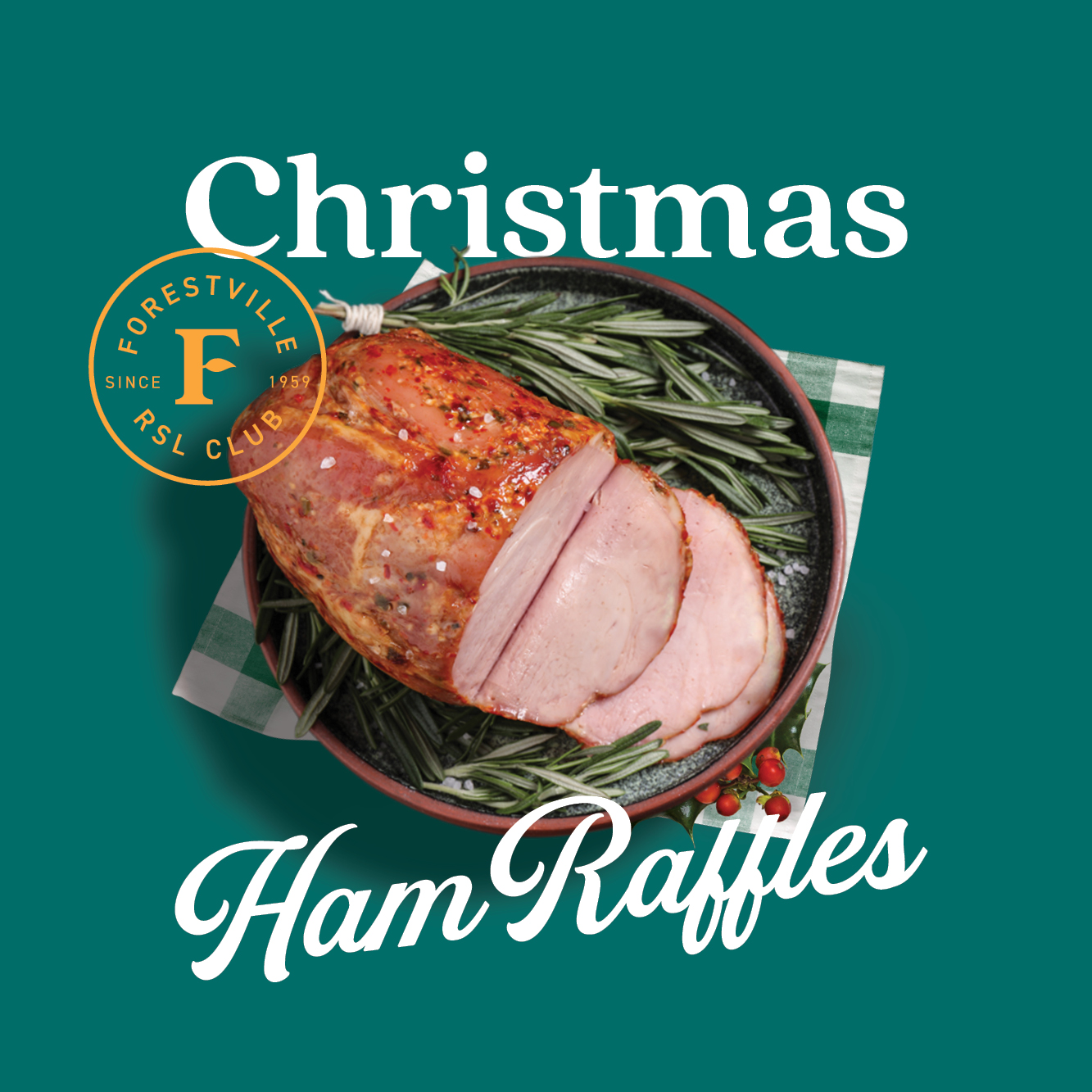 Join us every Friday and Saturday from December 4 until Christmas with 15 hams to be won each session!