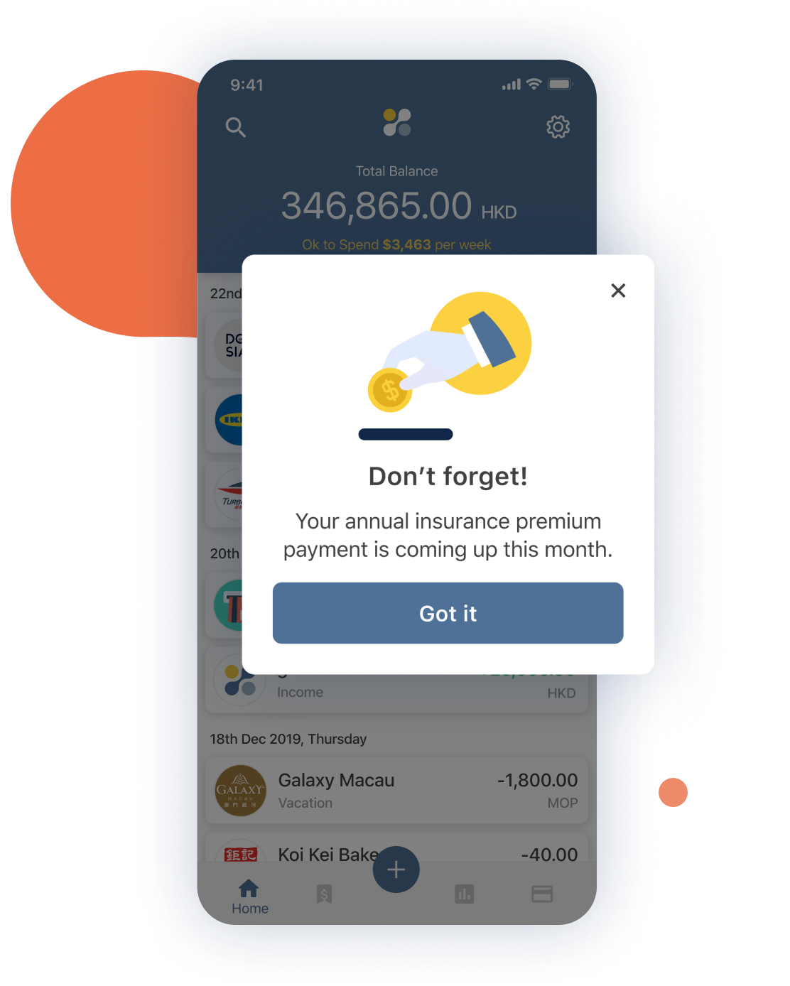 Get notified of upcoming expenses based on your spending history with enriched data from gini