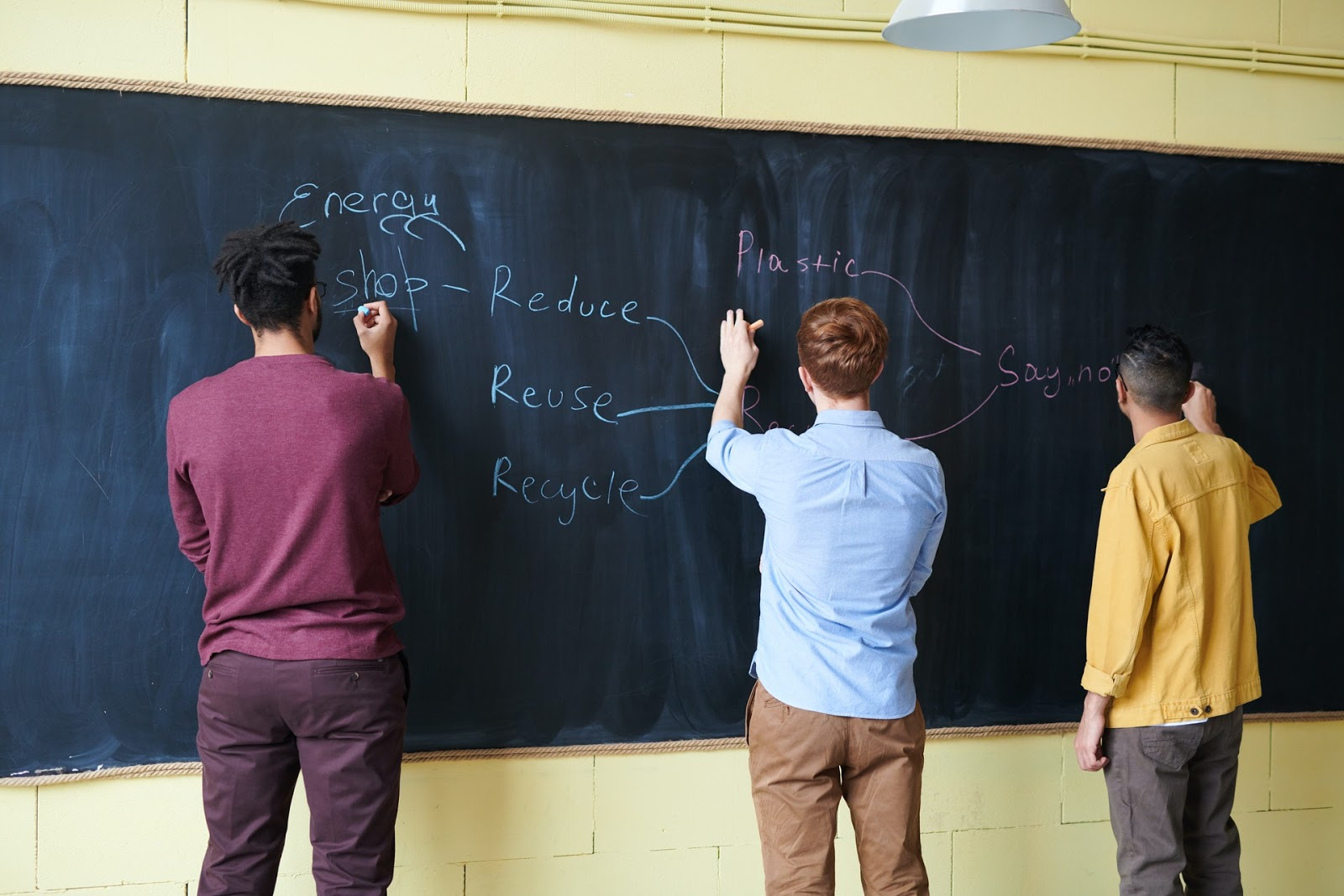 three students working on a problem on a chalkboard