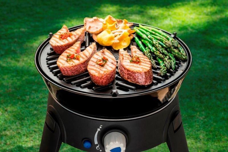 Cadac Safari Gas BBQ with salmon and asparagus