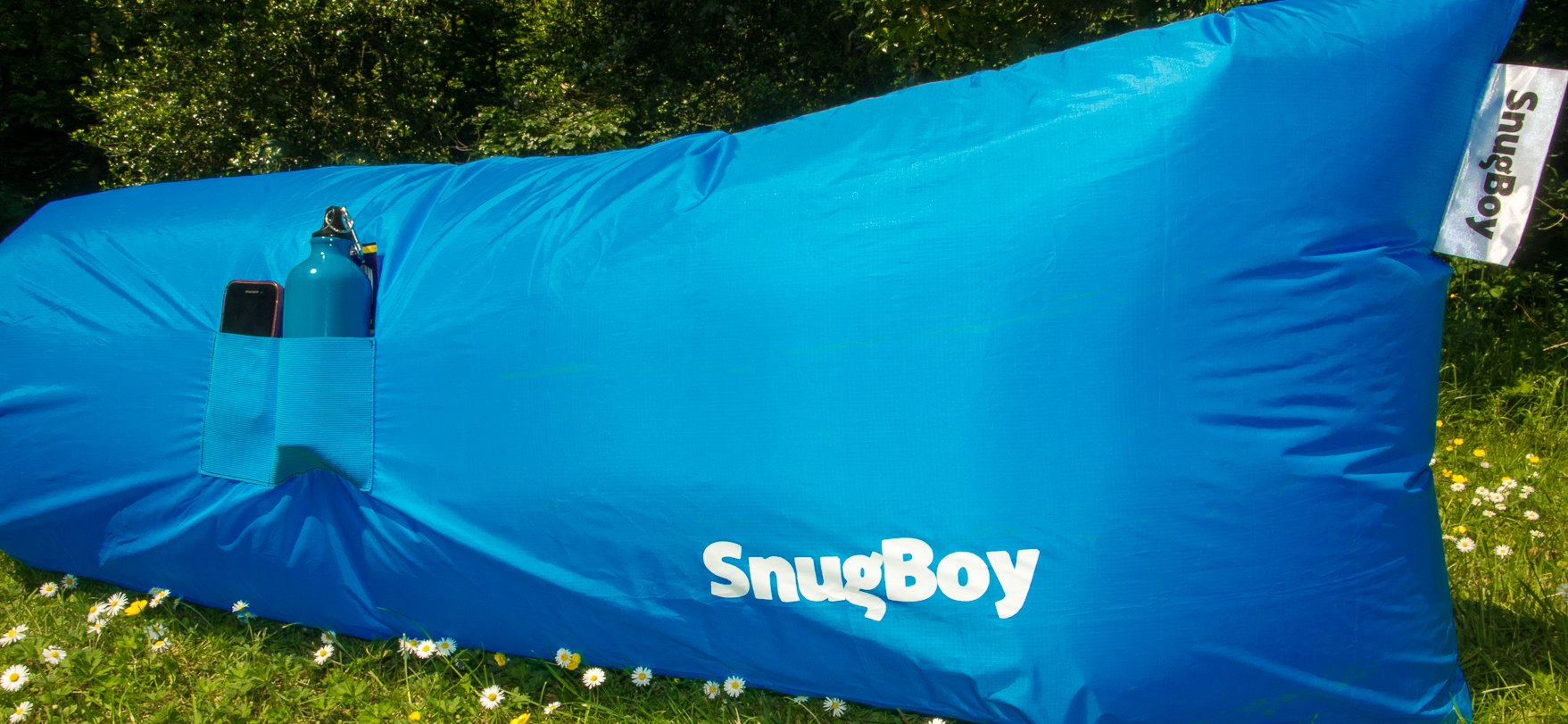 blue snug boy inflatable sofa for camping