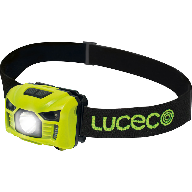 lime green and black head torch