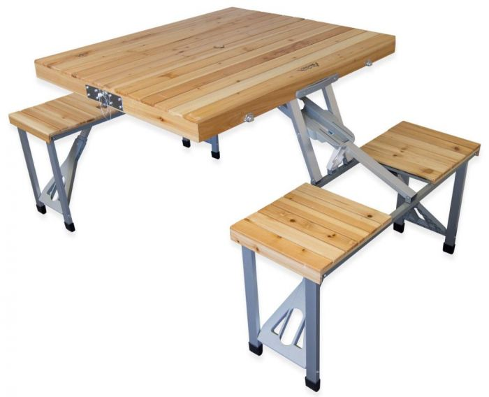 wooden camping table and chairs