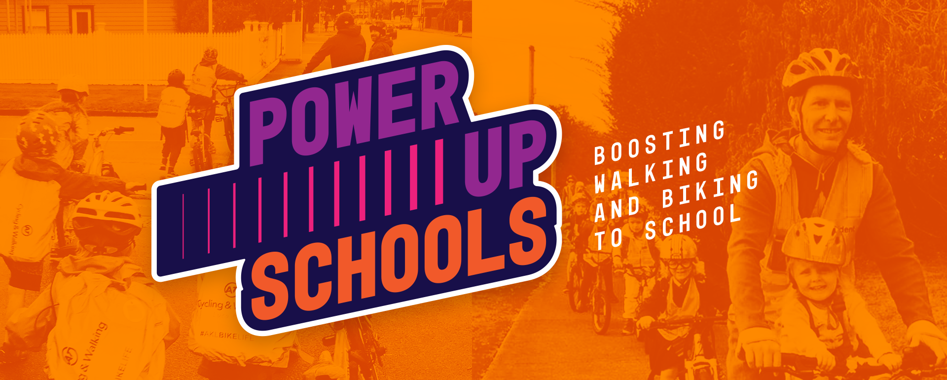 A bright power up logo including the tag line 'boosting walking and biking to school' and an image of a Power Up Bike Train