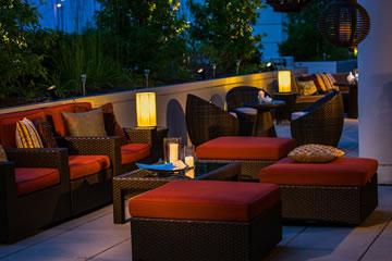 The Terrace patio at dusk