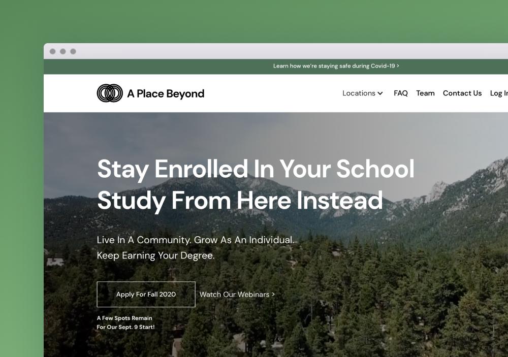 A Place Beyond Webflow Website Screenshot