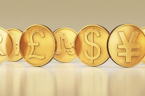 Münzen in verschiedenen Währungen