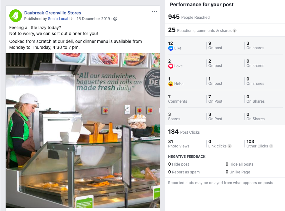 Daybreak Greenvilles social media post using Socio Local platform showing new deli service